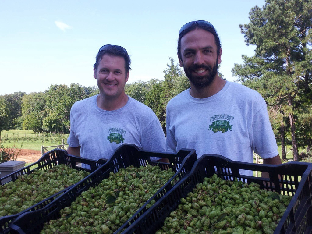 Steve Brown (left) and David Goode of Piedmont Hops