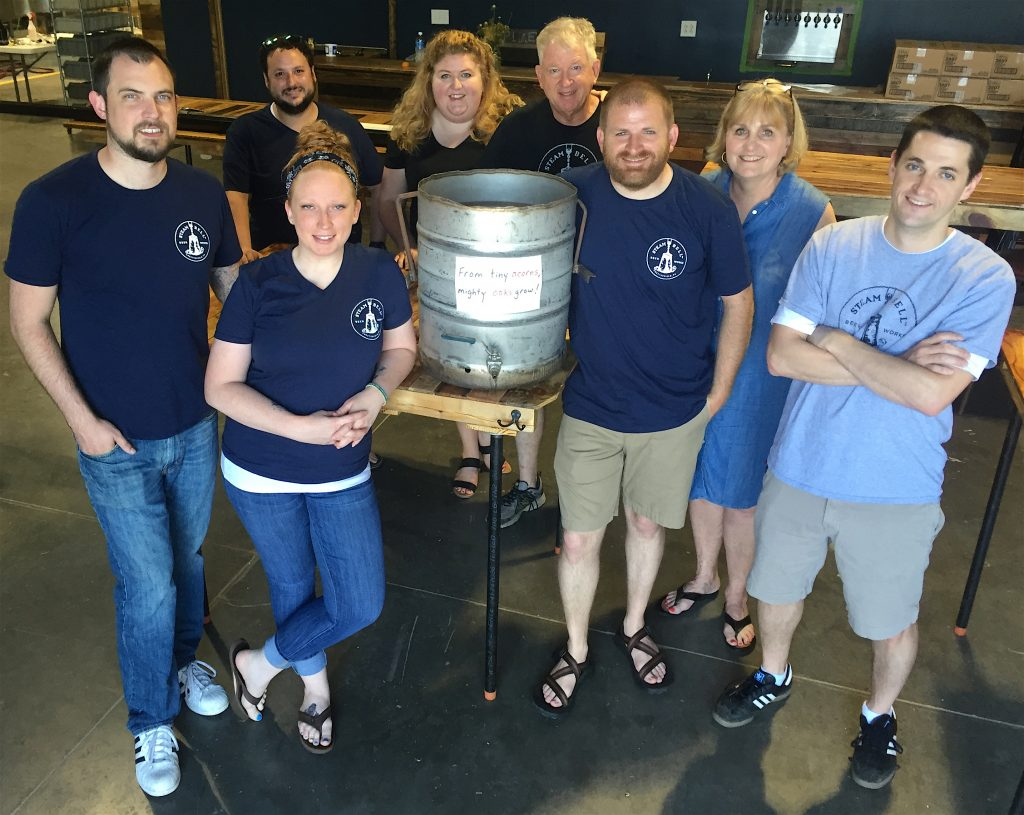 The Steam Bell Beer Works crew consists of (from left) Bryan Hicks, Jacob Morgan, Maggie Pearson, Brittany Cooper, Tom Cooper, Brad Cooper, Connie Cooper and Joey Johnson. Photo by Lee Graves
