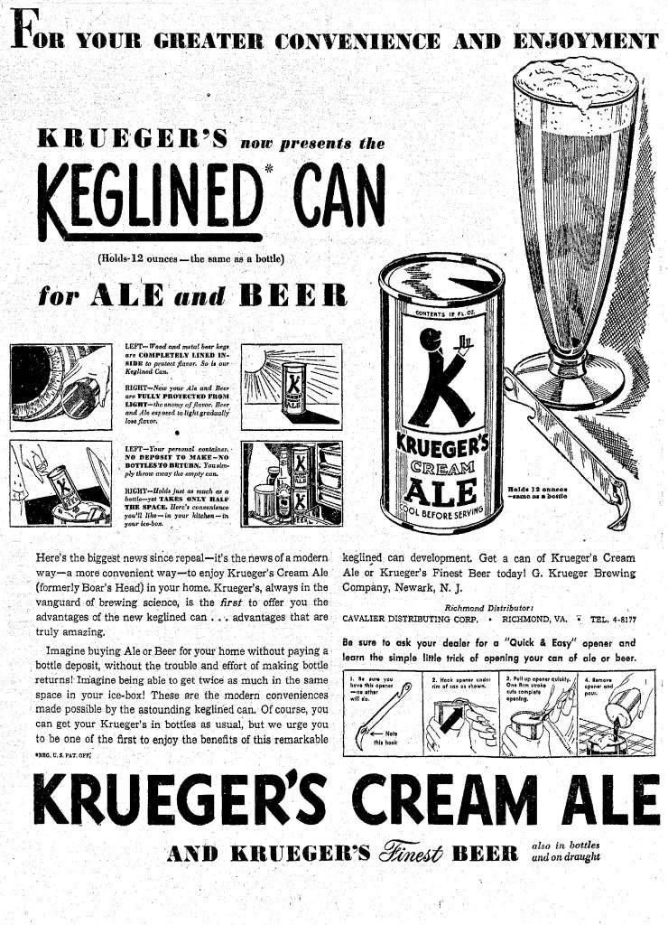 An ad in the Richmond Times-Dispatch gives details on the world's first beer in cans.