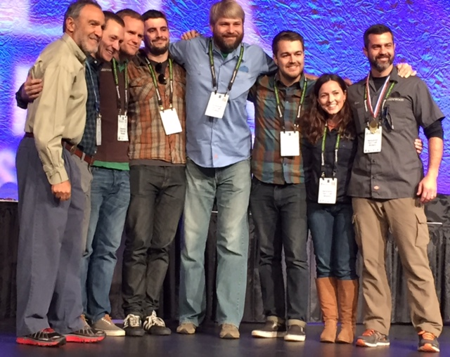 The crew from Hardywood Park Craft Brewery poses with Charlie Papazian (left), president of the Brewers Association